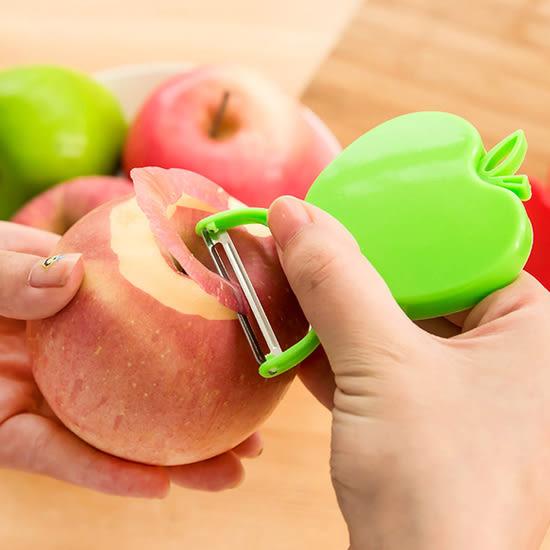 ✭米菈生活館✭【L63-2】蘋果造型可折疊削皮刀 廚房 刀具 去皮 便攜 不鏽鋼 瓜果 蔬果 刮皮