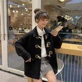 秋冬復古法式寬鬆洋氣牛角扣學生加厚長袖毛呢外套女