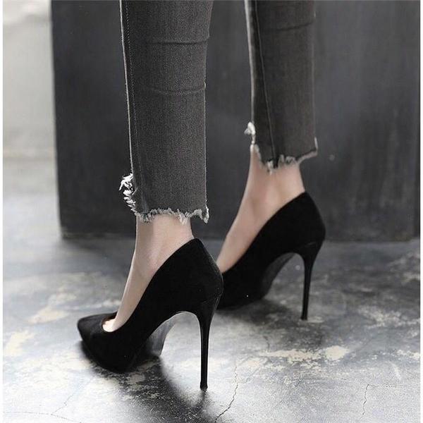 高跟鞋女細跟2020春秋網紅抖音少女小清新百搭職業正裝黑色工作鞋