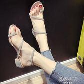 涼鞋2018新款女夏季時尚百搭水鉆蛇形纏繞粗跟中跟網紅同款羅馬鞋