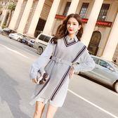 VK精品服飾 韓系針織背心加長袖襯衫氣質套裝長袖裙裝