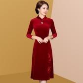 高貴喜婆婆春秋婚宴旗袍式禮服洋氣結婚媽媽裝中年女金絲絨連身裙