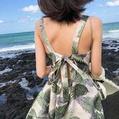 沙灘裙海邊度假2019新款小個子短裙高腰碎花雪紡連身 伊蒂斯女裝