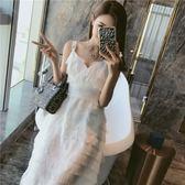 海邊度假沙灘裙夏2018新款白色超仙女露背ulzzang吊帶心機連衣裙 雙12鉅惠 聖誕交換禮物