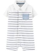 【美國Carter's】短袖純綿連身衣 - 條紋紳士 #1H494710