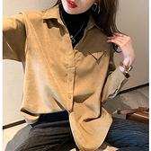 假兩件襯衫女秋冬新款港味設計感小眾上衣寬松加厚疊穿襯衣打底衫NE03-C.1號公館