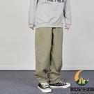 日系復古休閒寬鬆素色九分束腳褲工裝褲男女【創世紀生活館】