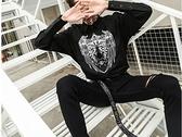 FINDSENSE H1 2018 夏季 新款 個性印花 長袖襯衫 潮流 時尚