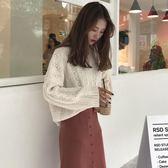 韓版時尚休閒套裝女裝套頭毛衣針織衫 高腰開叉半身裙兩件套 三角衣櫃