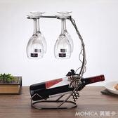 歐式風格紅酒架擺件 酒瓶架紅酒掛杯架房間酒柜裝飾帶紅酒杯 莫妮卡小屋