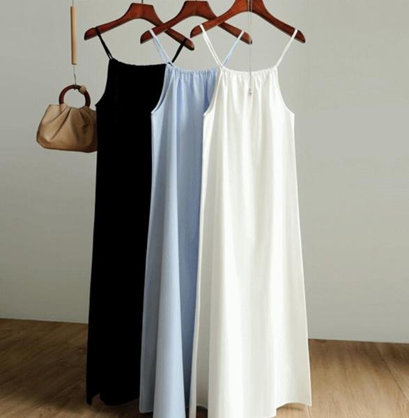 日系無袖洋裝~細吊帶洋裝~韓國chic法式慵懶風小眾露背超長款無袖吊帶連身裙8052.T215A衣時尚