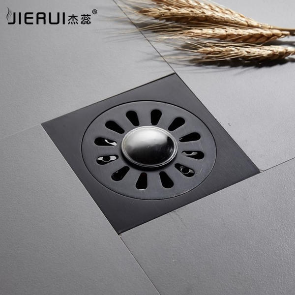 杰蕊黑色全銅防臭器下水道衛生間廁所浴室洗衣機防臭地漏隱形地漏  (橙子精品)