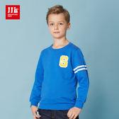 JJLKIDS 男童 美式街頭造型圓領純棉T(彩藍)