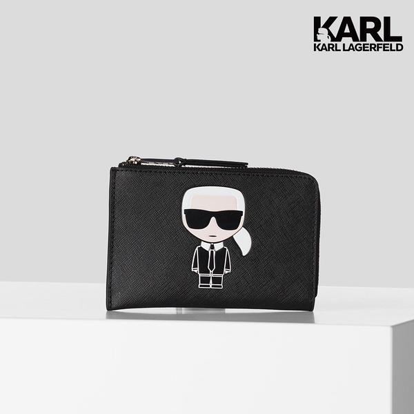 (AW21新品)【KARL LAGERFELD】IKONIK 拉鍊卡夾零錢包-黑 (原廠公司貨)