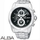 ALBA 龐克切割錶盤碼表黑面三眼鋼帶腕錶 公司貨 YM92-X189C SEIKO副牌
