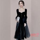 禮服 高級質感小晚禮服2021新款名媛高端絲絨中長款訂婚洋裝平時可穿T