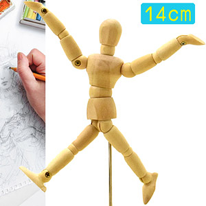 14CM素描木製人偶5.5吋關節可動木頭人14公分小木偶玩偶假人繪畫寫真動漫畫美術用品人像攝影