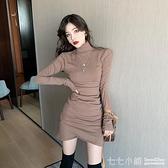 2021春裝修身性感顯瘦褶皺內搭包臀洋裝女秋冬新款半高領打底連身裙