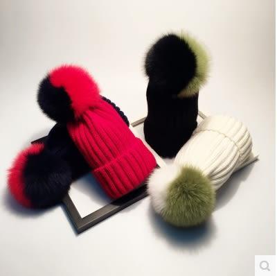 秋冬天拼色狐狸毛球帽女保暖親子純色針織帽潮