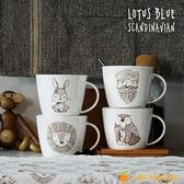 復古可愛動物馬克杯骨瓷陶瓷早餐杯麥片杯水杯大容量【小橘子】