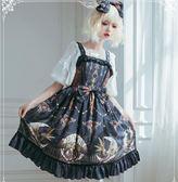 洋裝-月之祭臺 洛麗塔洋裝吊帶連身裙原創設計復古宮廷印花裙