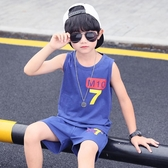 男童夏裝套裝兒童夏天背心短褲新款帥氣中大童男孩運動洋氣潮 快速出貨