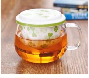 三件式陶瓷濾膽花茶杯 -幸運草