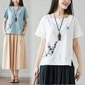短袖T恤 棉麻民族風復古盤扣繡花寬鬆V領短袖T恤女