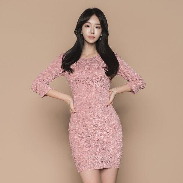 VK旗艦店 韓系性感露背蝴蝶結蕾絲七分袖包臀長袖洋裝