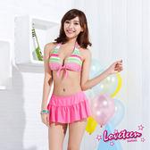 【夏之戀LOVETEEN】條紋甜美風比基尼二件式褲連裙泳衣(N15709)