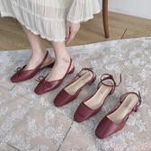 新品粗跟涼鞋單鞋女仙女風ins網紅2020春款中跟方頭百搭粗跟包頭時裝涼鞋潮鞋 suger