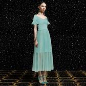 洋裝-V領網紗百褶荷葉袖氣質連身裙73ta4【時尚巴黎】