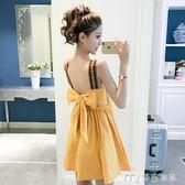 夏季新款吊帶連衣裙女潮小清新甜美蝴蝶結露背小個子短款裙子     麥吉良品