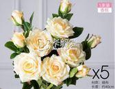 仿真花 假花擺件防真花玫瑰花花束套裝裝飾花插花花藝客廳擺設絹花 卡菲婭