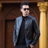 皮衣 皮外套 秋季新品中年男士海寧皮衣男立領商務修身綿羊皮夾克外套