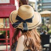 現貨-新款草帽女夏天遮陽帽防曬帽太陽帽出遊度假海邊大沿帽涼帽蝴蝶結