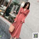 長裙 秋冬裝女新款法式復古桔梗裙初戀氣質打底裙子長裙針織連身裙 玫瑰女孩
