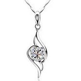 925純銀項鍊-天使之翼獨特造型流行鑲鑽女吊墜銀飾73v8【巴黎精品】