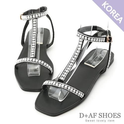 涼鞋 D+AF 夏日女神.水鑽寶石細帶T字涼鞋*黑