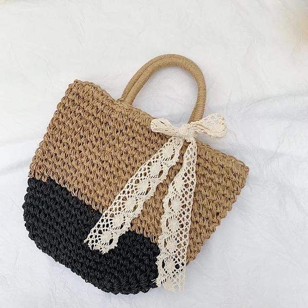 編織包 草編包ins斜跨單肩沙灘度假包包編織小清新手提大容量草包