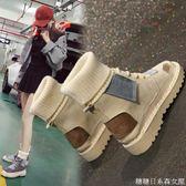馬丁靴女新款秋學生韓版百搭加絨棉鞋中筒靴子毛線口短靴