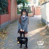 毛呢外套 日本制服西式雙排扣少女日系學院風百搭秋冬呢大衣