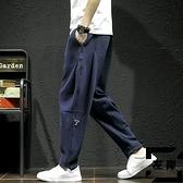 針織衛褲男士潮流垂感刺繡休閒大碼寬鬆小腳褲【左岸男裝】