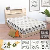 IHouse-清田 日式插座收納床組(美式床墊+床頭+床底)-雙人5尺
