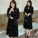 (現貨+預購 FUWAFUWA)--加大尺碼復古風小性感玫瑰絲絨長袖洋裝小禮服