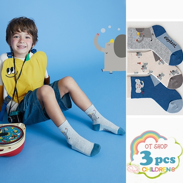 OT SHOP[現貨]三入組 兒童襪 男童 襪子 中筒襪 運動襪 精梳棉 卡通圖案 動物 小象 復古文青色系 M6025