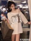 夏季新款韓版假兩件洋氣上衣chic港味亮片小性感露肩短袖T恤女潮  快意購物網