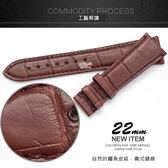 【完全計時】手錶館│Panerai 沛納海代用 進口高級真鱷魚錶帶 22mm限量 鱷魚咖 咖車線 收薄