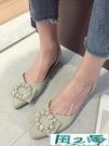 尖頭鞋 平底單鞋女年尖頭百搭淺口春秋低跟鞋子軟底豆豆鞋【風之海】