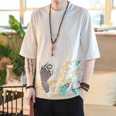 夏款中國風印花T恤短袖男青年圓領半截袖寬鬆復古民族風唐裝上衣